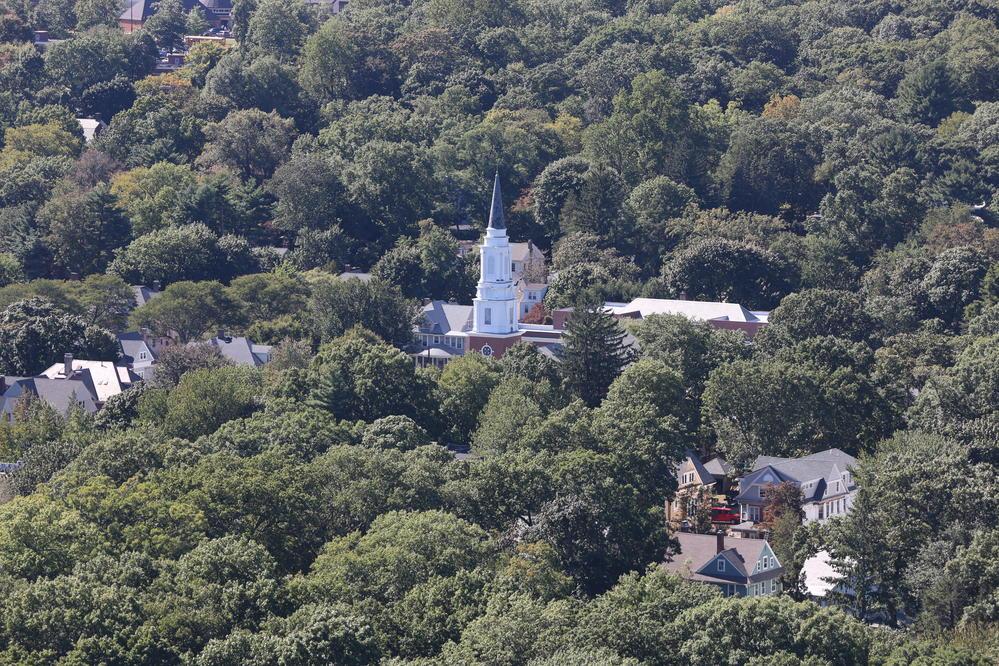 從East Rock Park遠眺紐黑文樹海中的教堂
