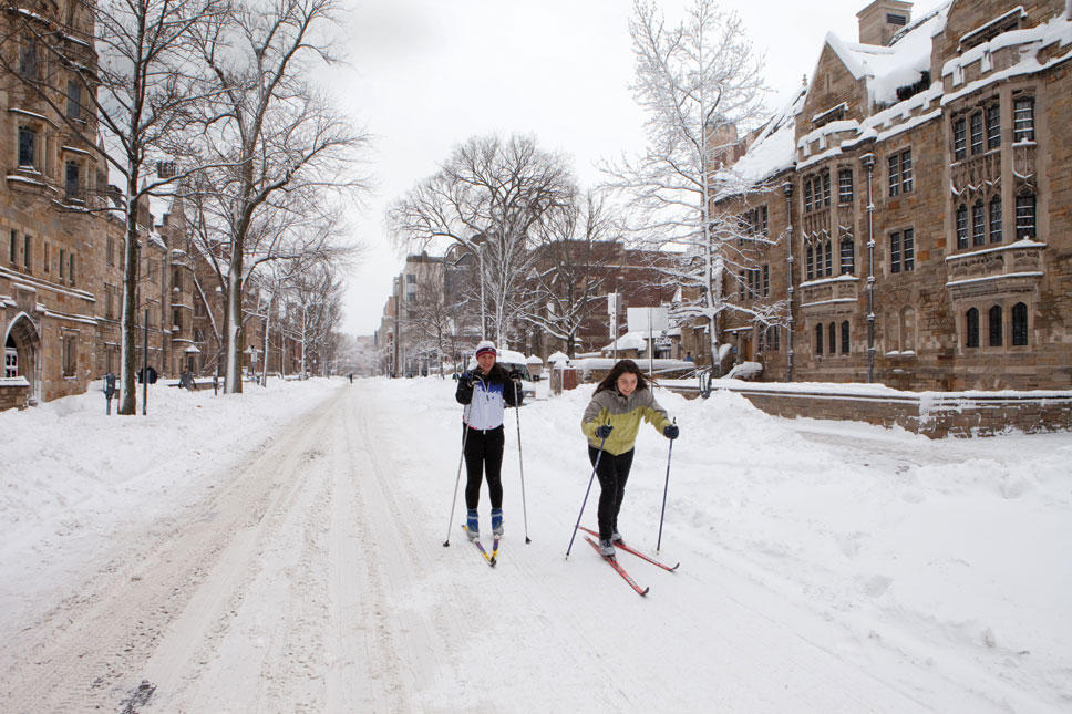 Ski on York Street, at Yale University Campus
